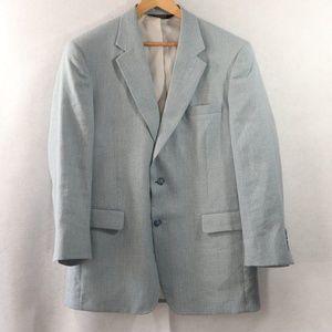 Jos A Bank Linen Wool Blue Suit Coat Blazer 43R